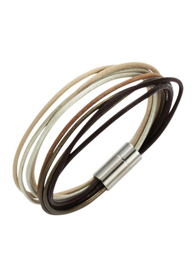 FIRETTI firetti Armschmuck: Armband aus Leder in mehrreihiger Optik mit Magnetverschluß