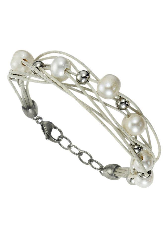 FIRETTI firetti Armschmuck: Armband aus Leder in mehrreihiger Optik mit Perlen und polierten Kugeln