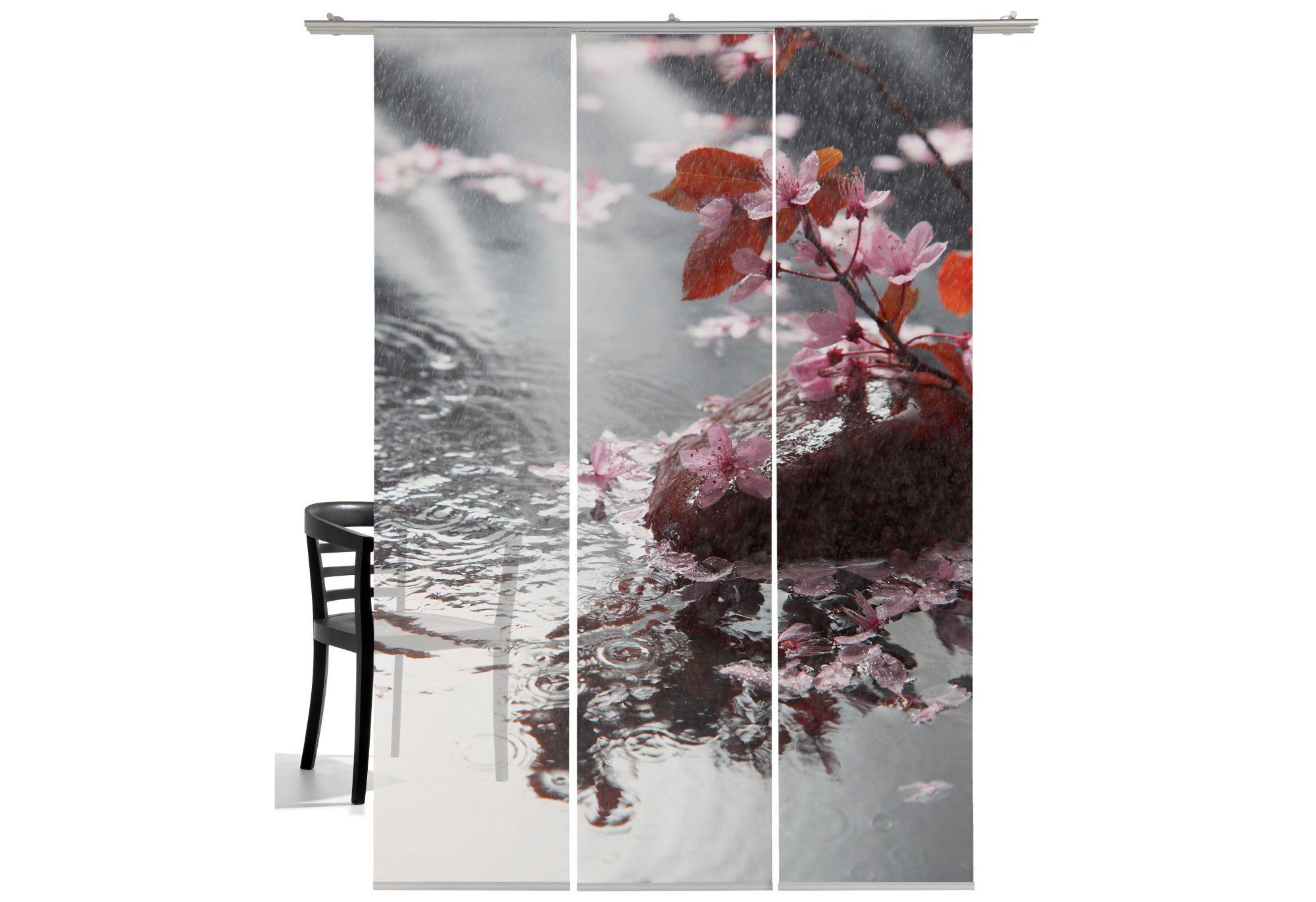 EMOTIONTEXTILES Schiebegardine, Emotiontextiles, »Blütenregen«, mit Klettband (3 Stück mit Zubehör)