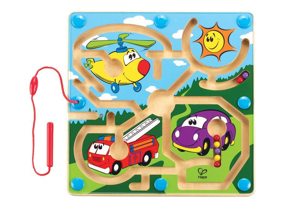 HAPE Hape Magnet-Kinderspiel aus Holz, »Mighty Motors - Motorfahrzeuge«, Geschicklichkeitsspiel