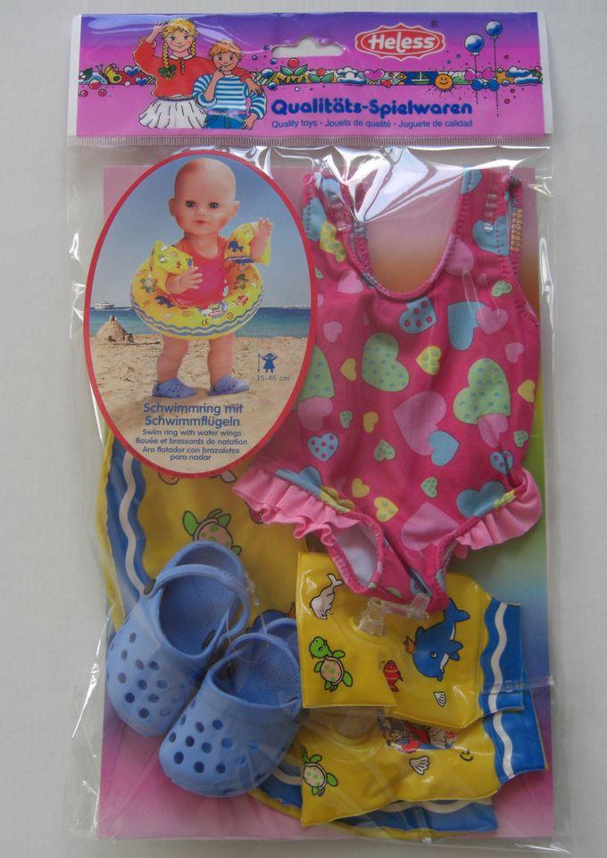 HELESS® Heless® Puppenbekleidung (6tlg.) Größe 35-46 cm »Puppenschwimmset mit Badeanzug und Zubehör«