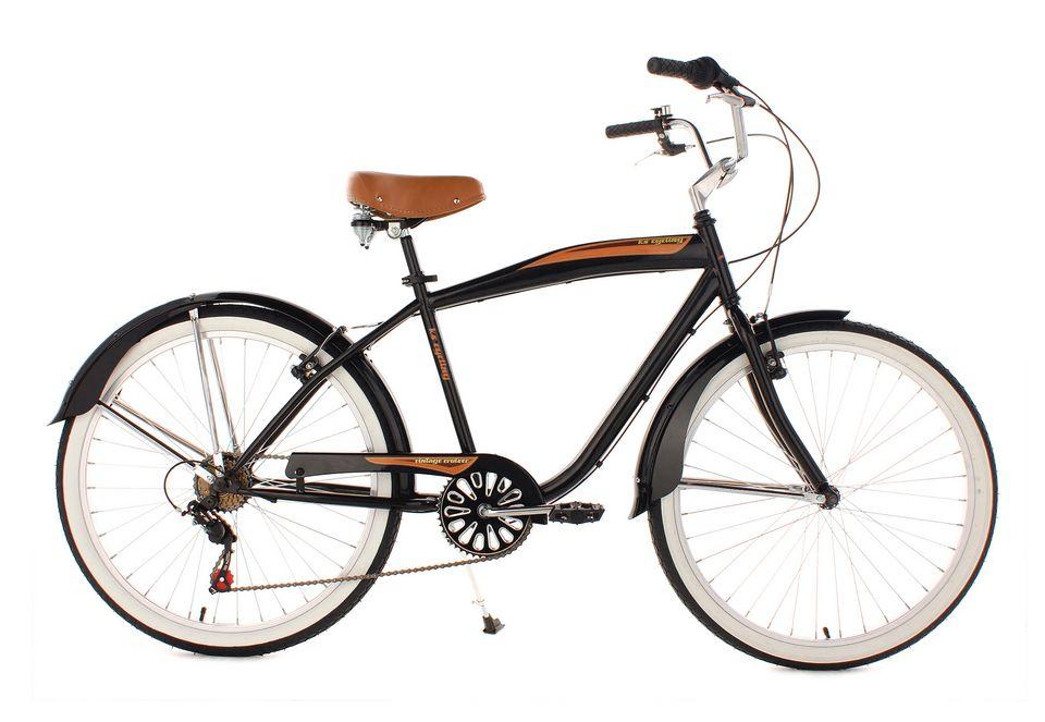KS CYCLING Beachcruiser Herren, KS Cycling, »Vintage«, 26 Zoll 6 Gang Shimano Tourney, V-Brakes