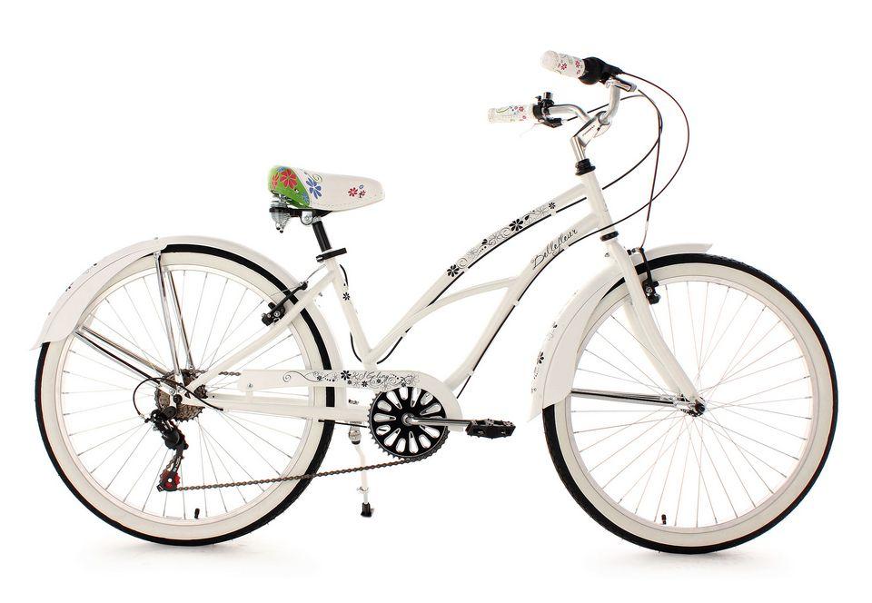 KS CYCLING Beachcruiser Damen, KS Cycling, »Bellefleur«, weiß, 26 Zoll 6 Gang Shimano Tourney SIS, V-Brakes
