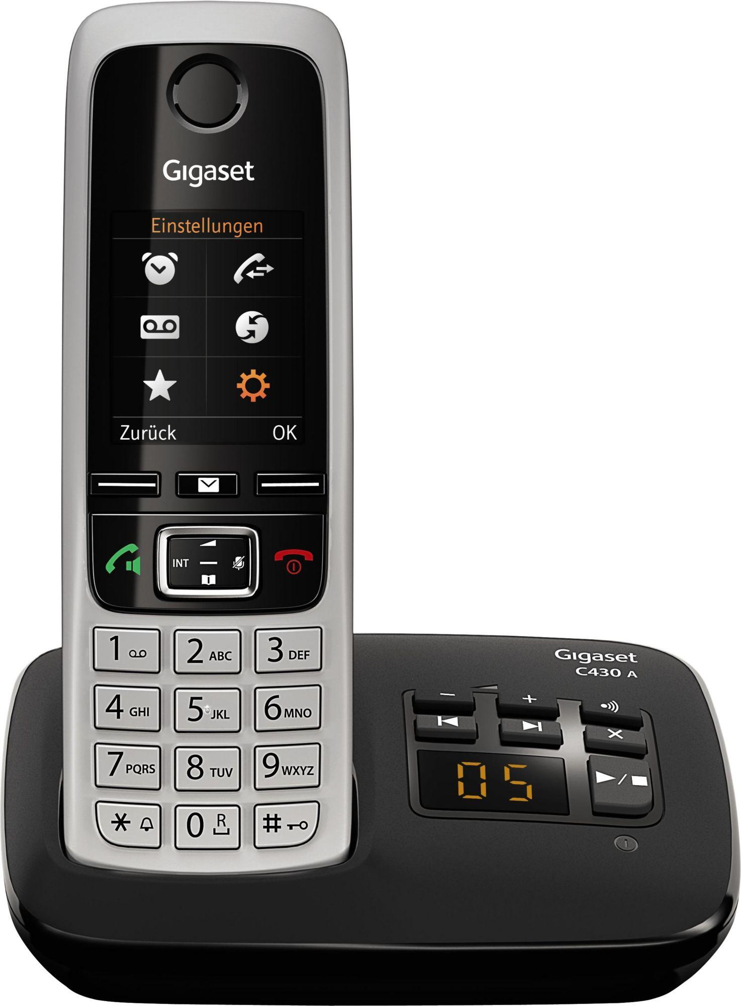 GIGASET C 430 A Schnurlostelefon mit Anrufbeantworter schwarz