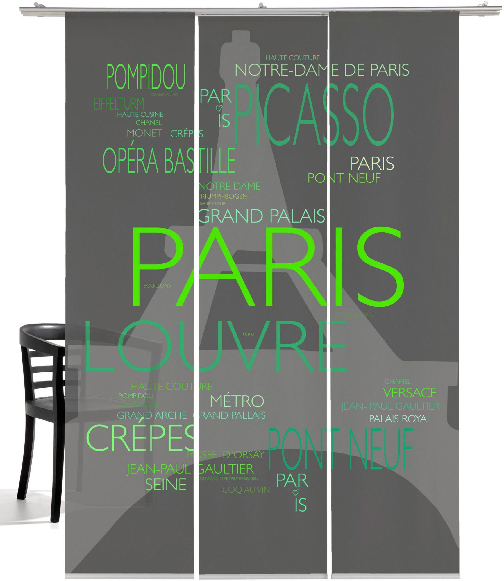EMOTIONTEXTILES Schiebegardine, Emotiontextiles, »La Tour Eiffel«, mit Klettband (3 Stück mit Zubehör)