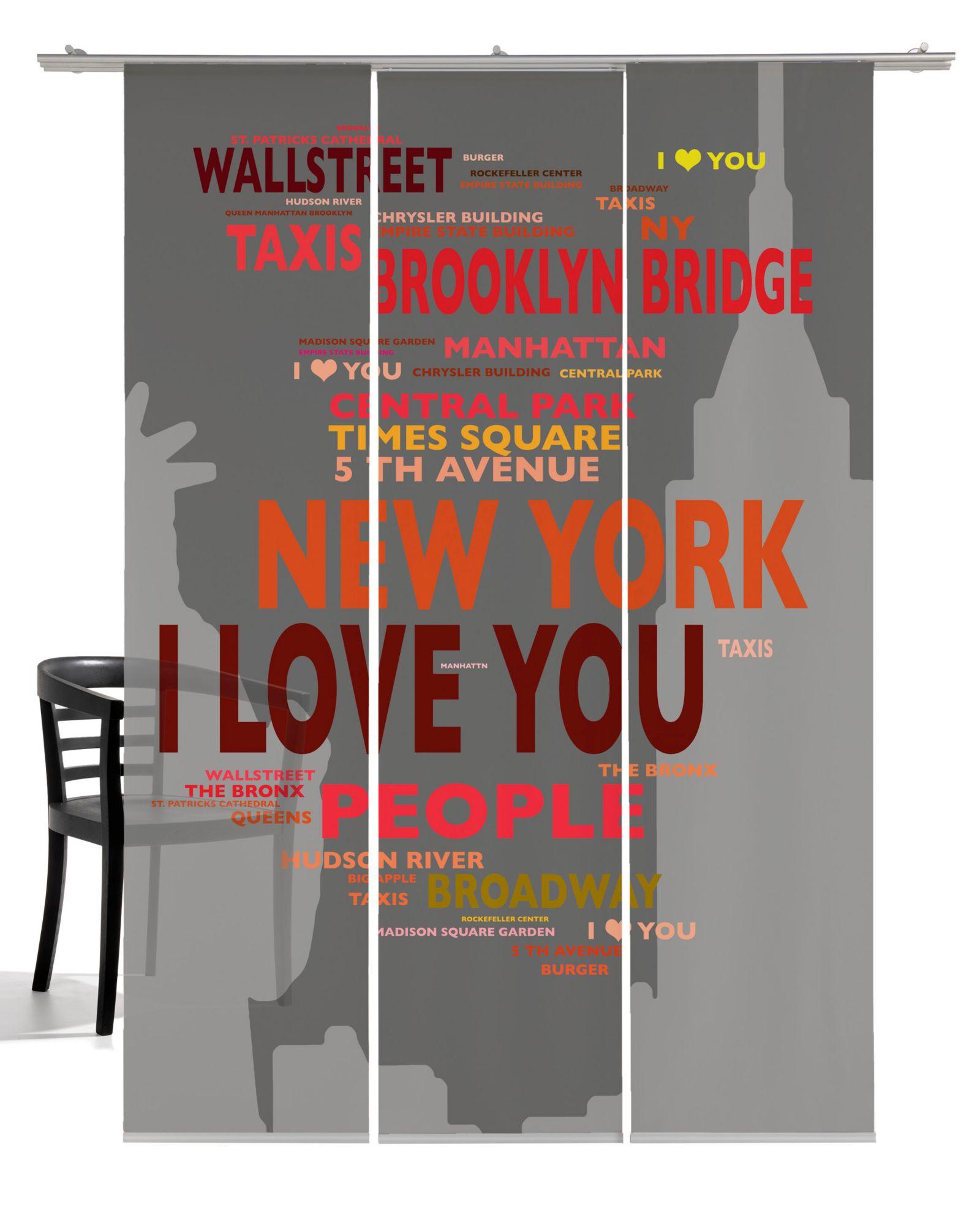 EMOTIONTEXTILES Schiebegardine, Emotiontextiles, »Big Apple«, mit Klettband (3 Stück mit Zubehör)