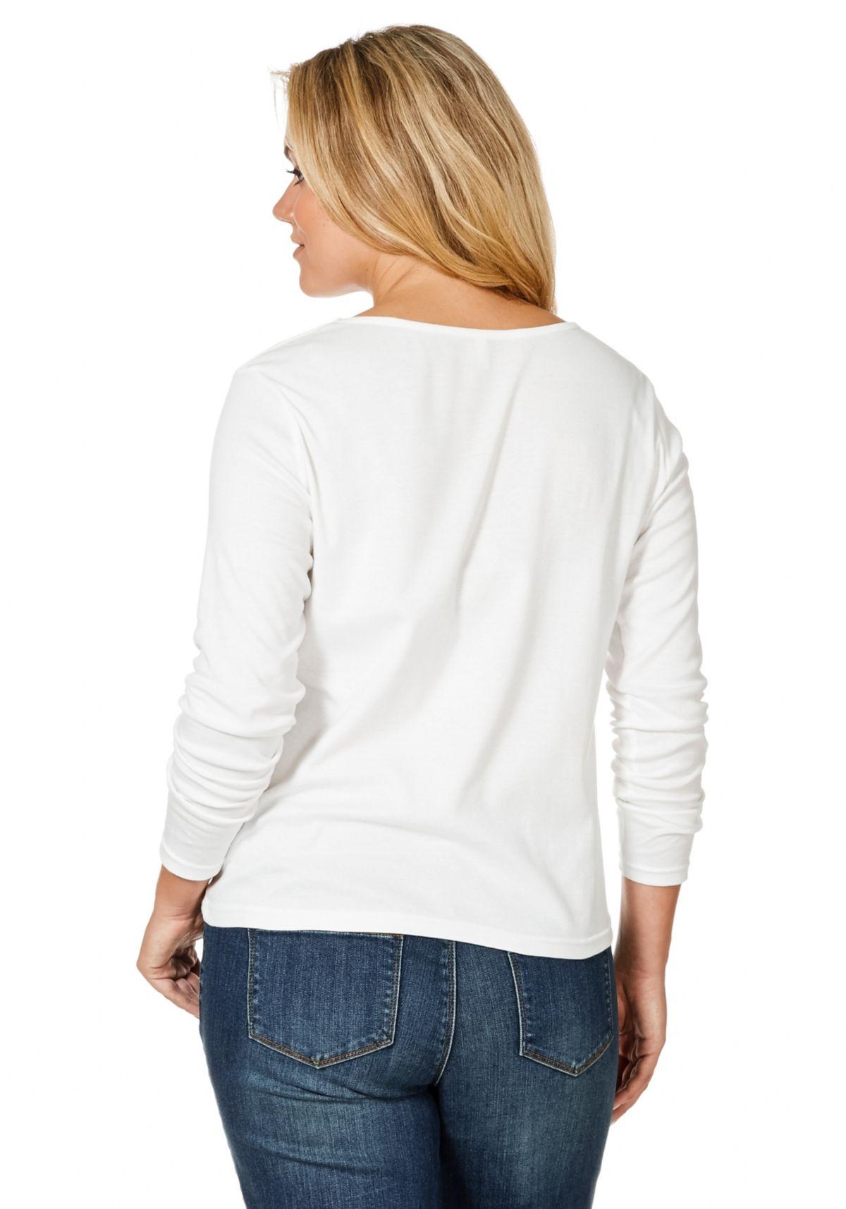 Große Größen: sheego Casual Basic-Shirt (2 Stck.), weiß + schwarz, Gr.44/46-48/50 Preisvergleich