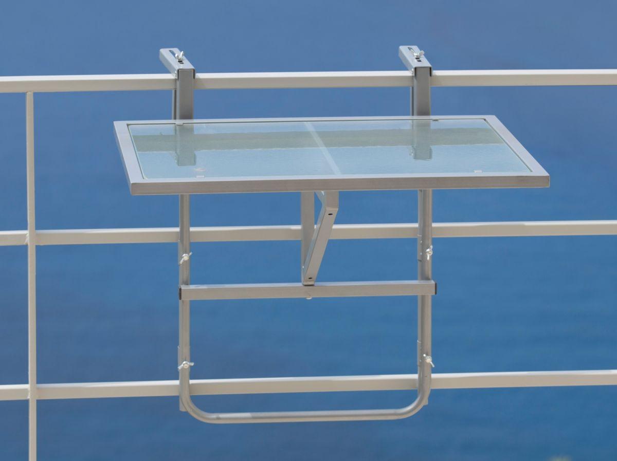 Balkonhängetisch aus Glas und Stahl, abklappbar, silber (Kopie)