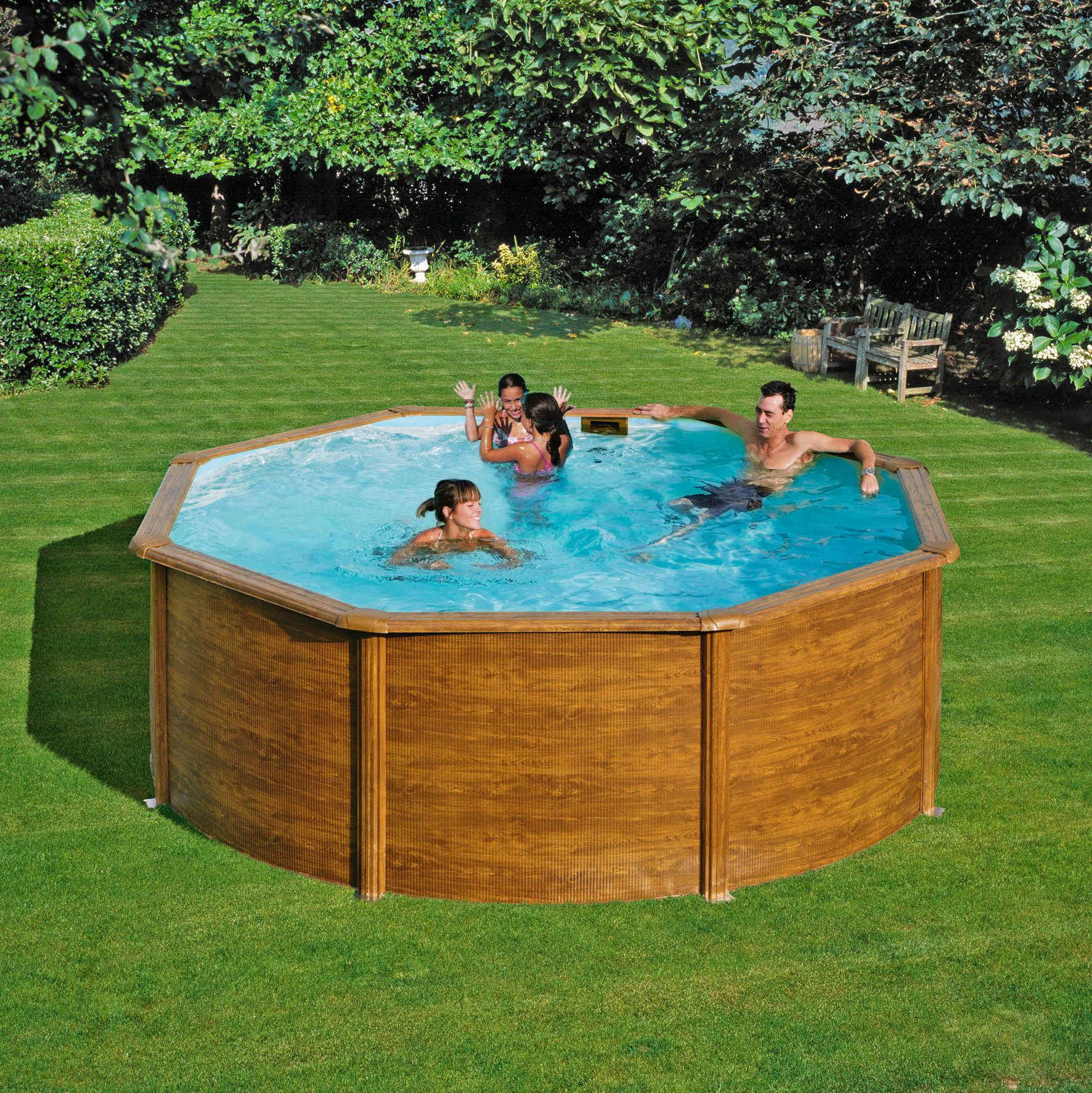 Set rundpool holz optik 132 cm tiefe 10 tlg schwab for Garten pool tiefe