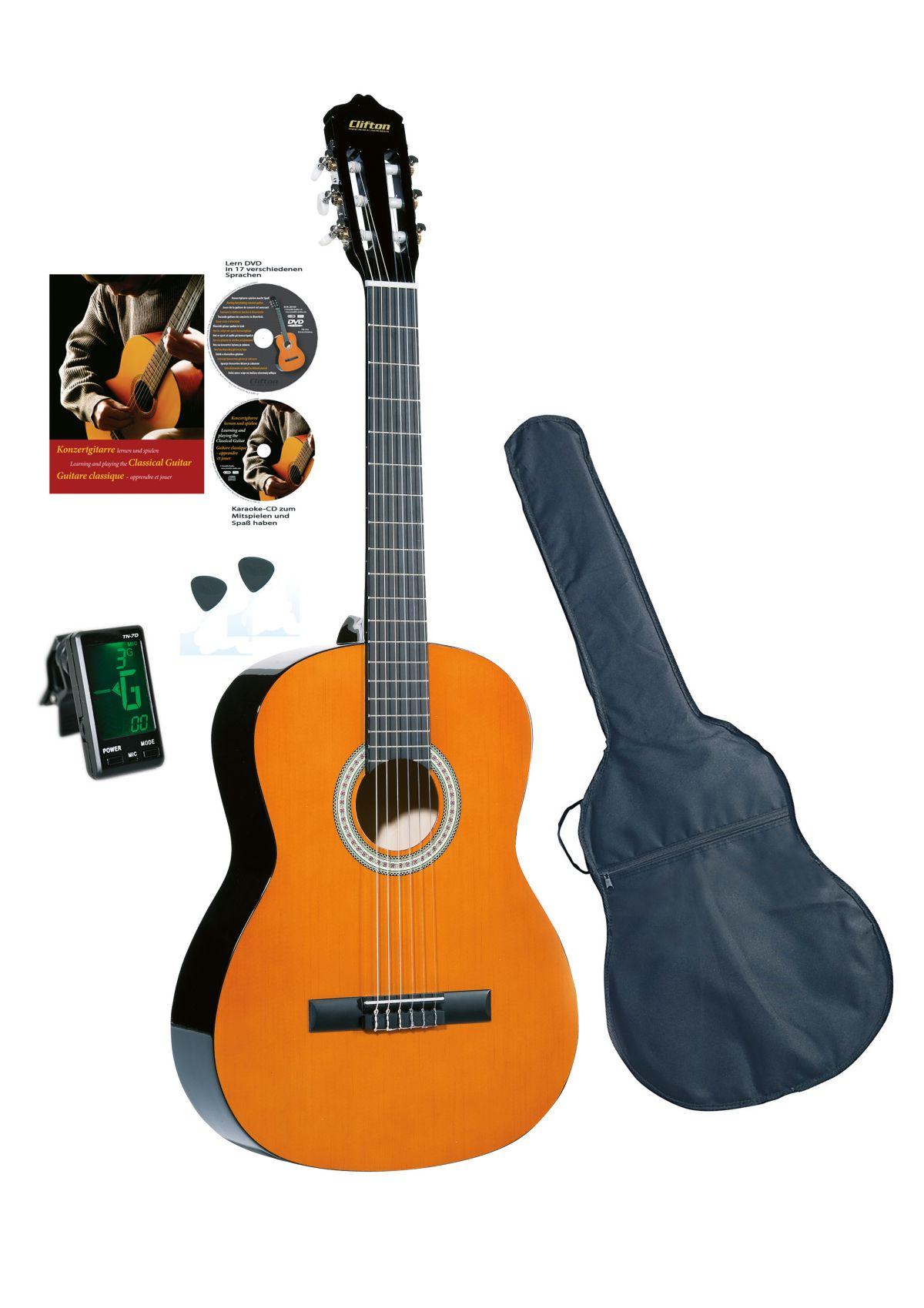 Vorschaubild von Set: Gitarre + Zubehör, »Clifton - Konzertgitarre 4/4«