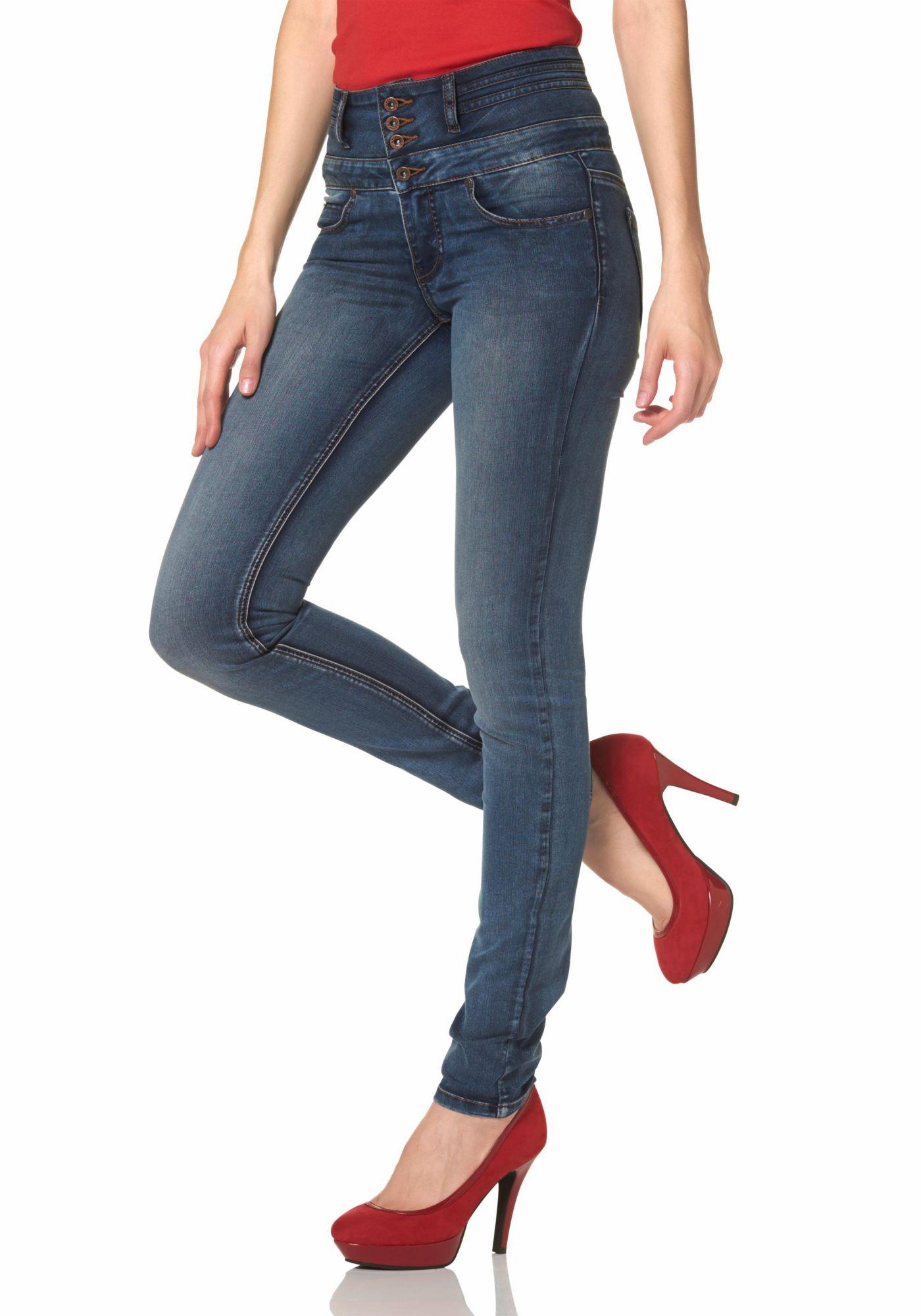 damen jeans 5 pocket jeans arizona skinny fit jeans mit gummizug. Black Bedroom Furniture Sets. Home Design Ideas