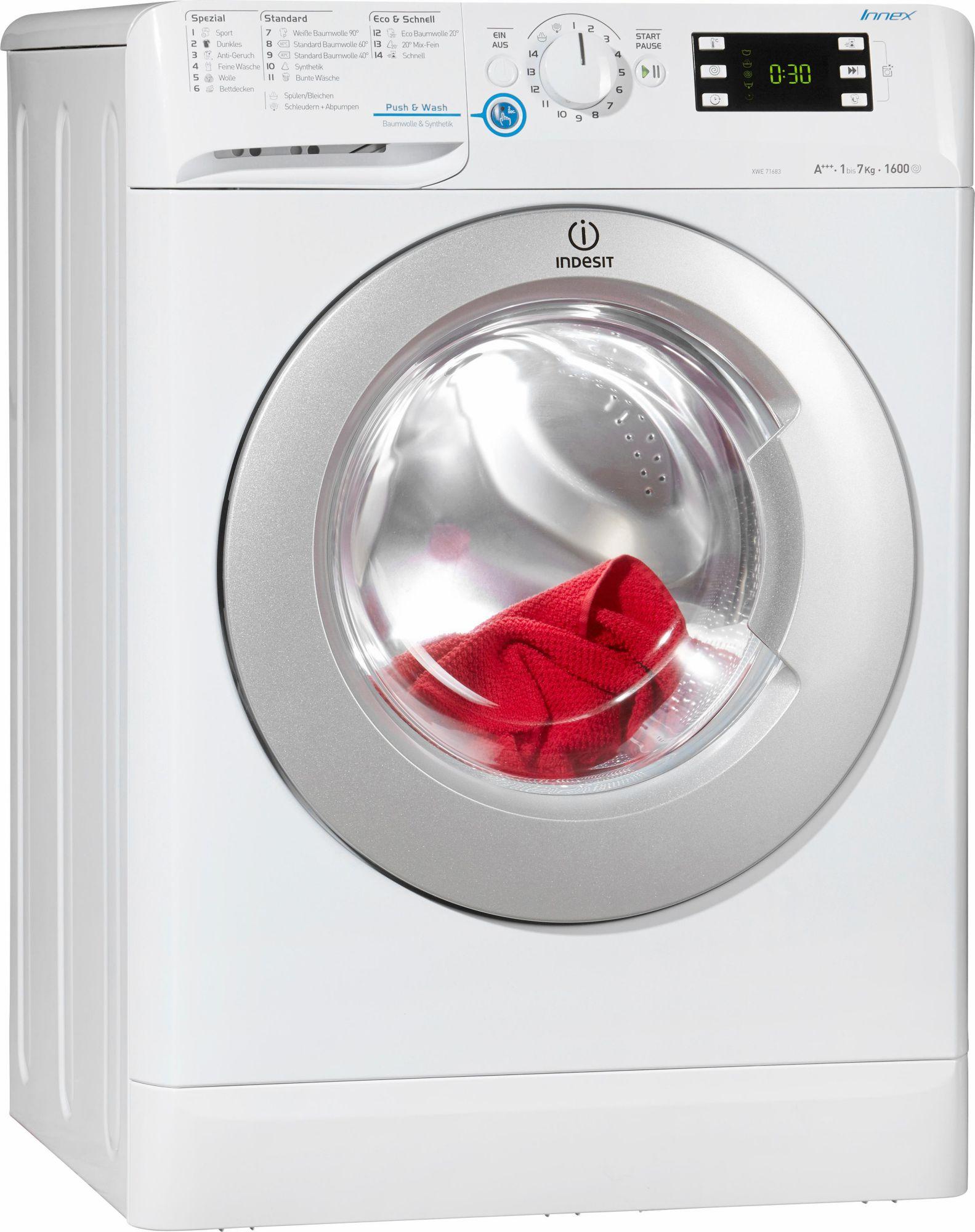 indesit waschmaschine xwe 71683x w de a 7 kg 1600 u. Black Bedroom Furniture Sets. Home Design Ideas