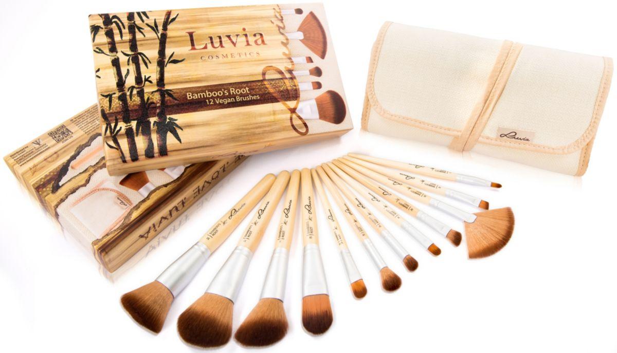 Luvia Cosmetics, »Bamboo´s Root«, Veganes Kosmetikpinsel-Set mit 12 Pinseln und Aufbewahrungstasche