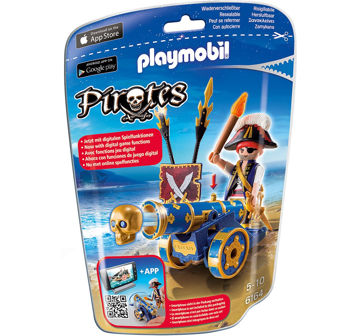 Playmobil® Blaue App-Kanone mit Piraten-Offizier (6164), »Pirates«