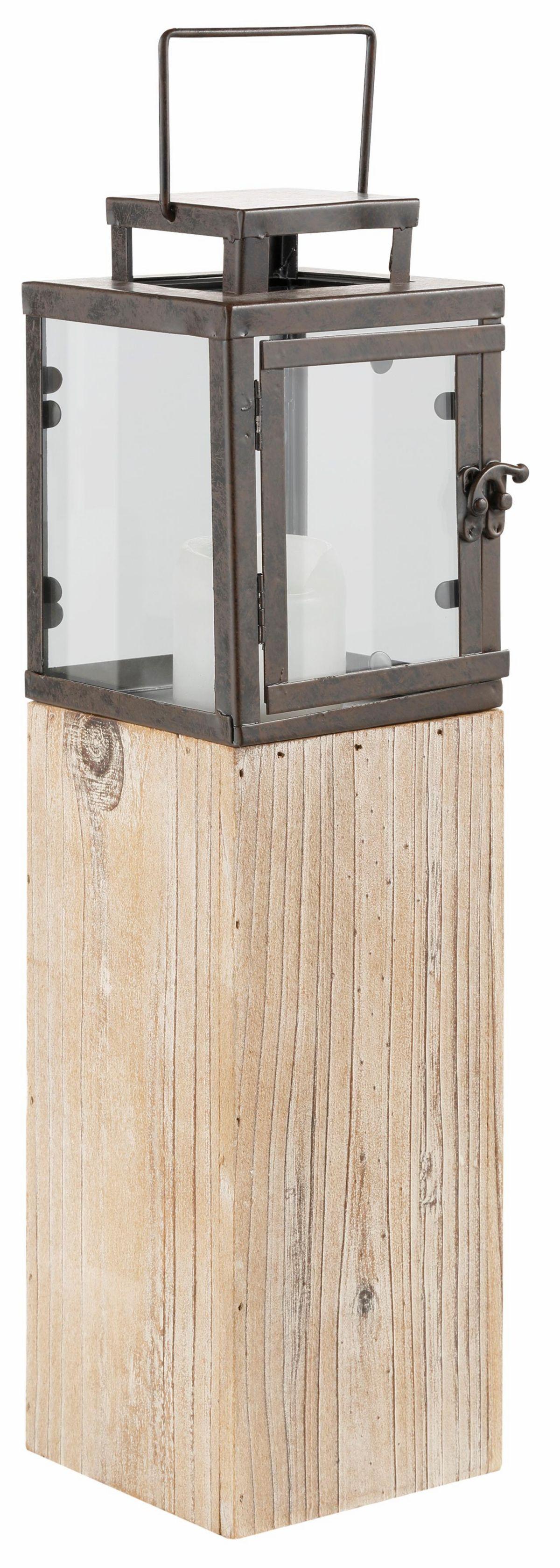 Laterne aus Metall und Holz, braun/silber