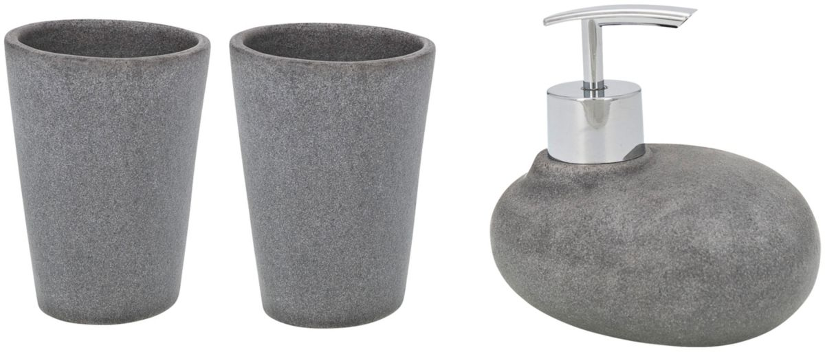 Bad-Accessoire-Set »Pebble Stone«, 3-teilig