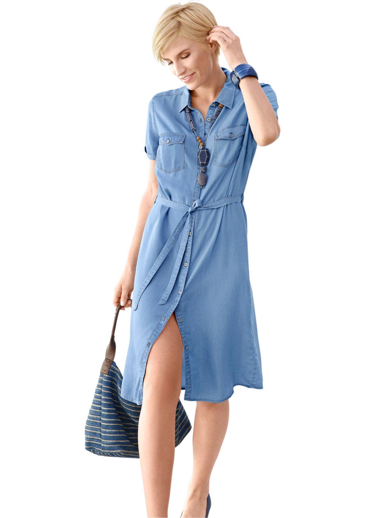 Collection L Jeans-Kleid mit Bindegürtel