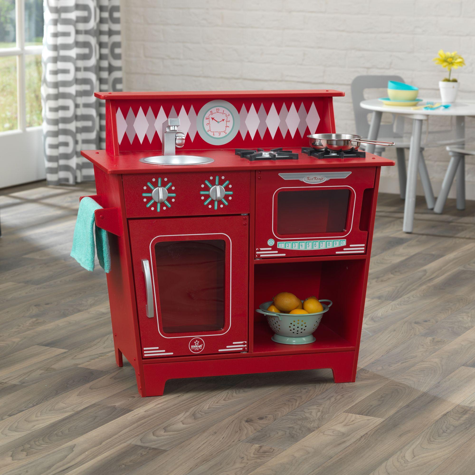 Kidkraft® Spielküche Aus Holz, »Klassische Küche In Rot«
