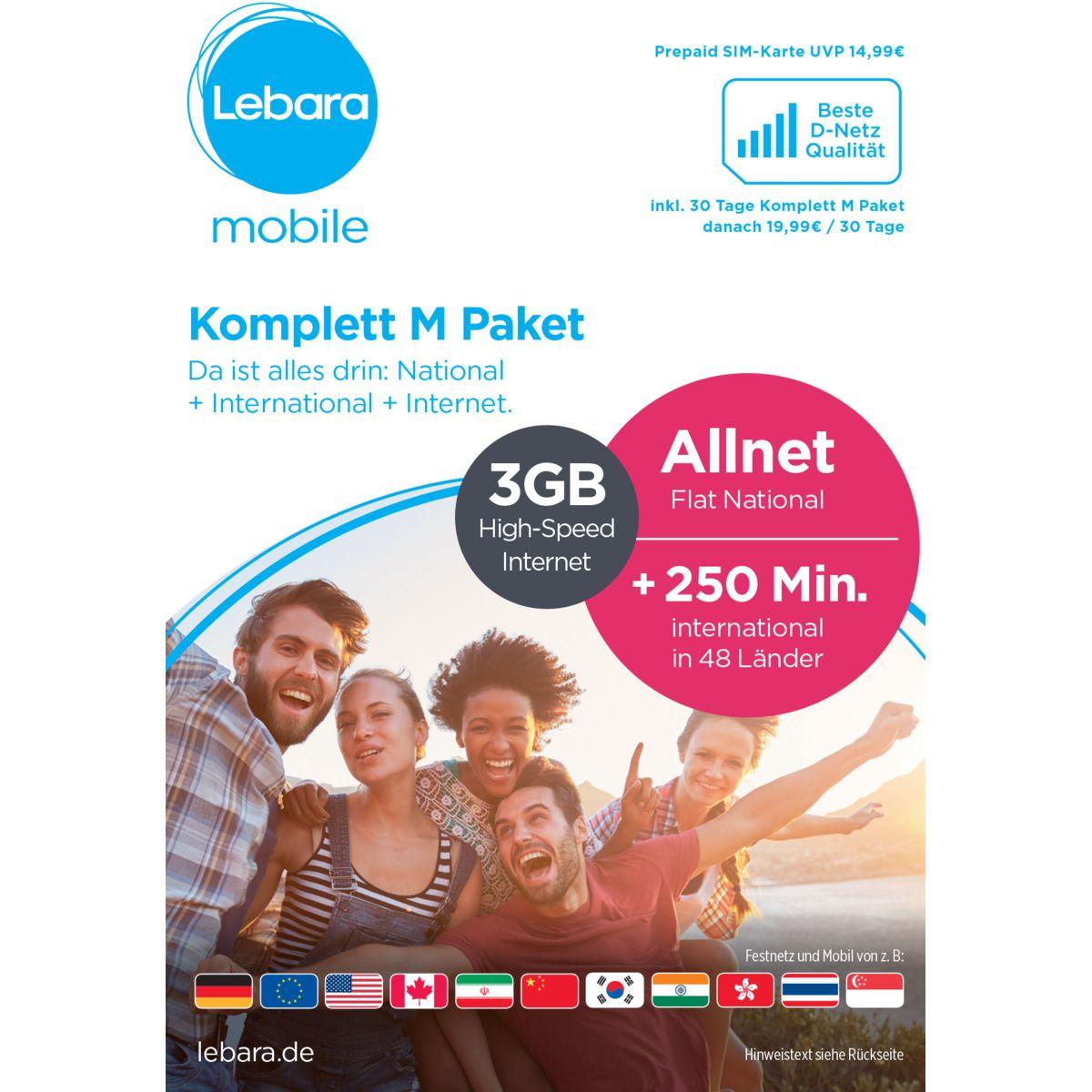 Lebara Prepaid Karte »Komplett M Tarif-Paket«