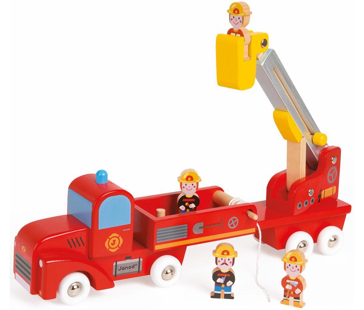 Janod Spielzeug Feuerwehrauto aus Holz, »Story Feuerwehrauto mit 4 Holzfiguren«