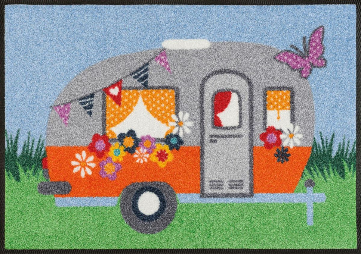 Fußmatte, »Happy Camping«, wash+dry by Kleen-Te...