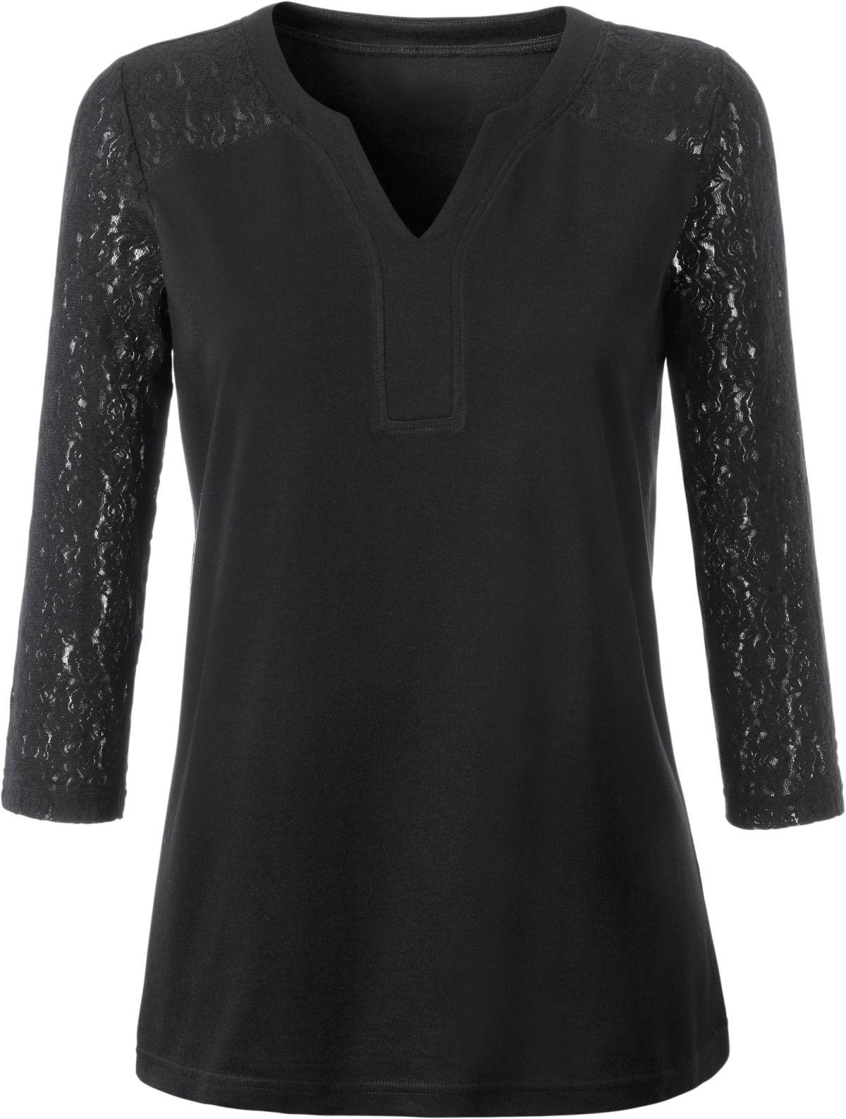 9c646fe3222fb Ambria Shirt mit Ärmel und Schulter aus feiner Spitze