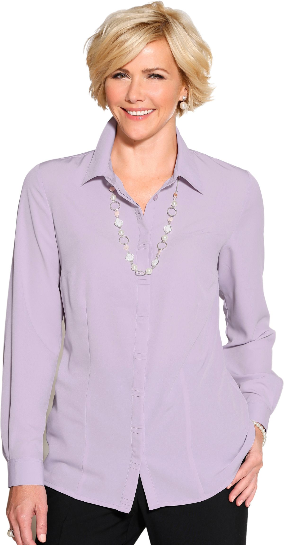 Classic Bluse mit Schulterpolster