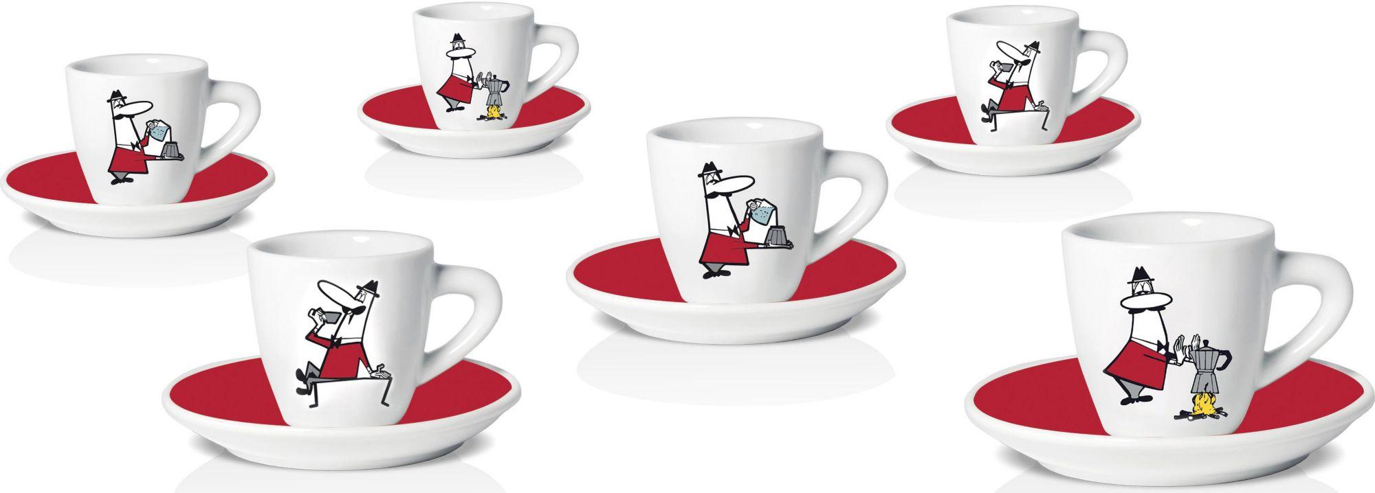 BIALETTI Espressotassen Set, Porzellan, 12 Teile, »OMINO«