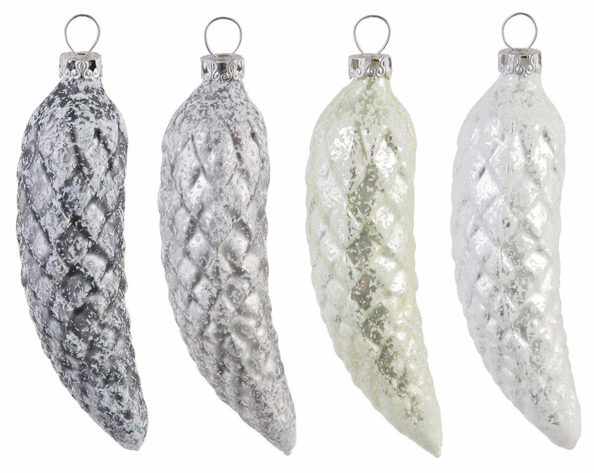 Thüringer Glasdesign TGS Christbaumschm.Tannenzapfen, Made in Germany, (4tlg.), »Frozen Christmas«