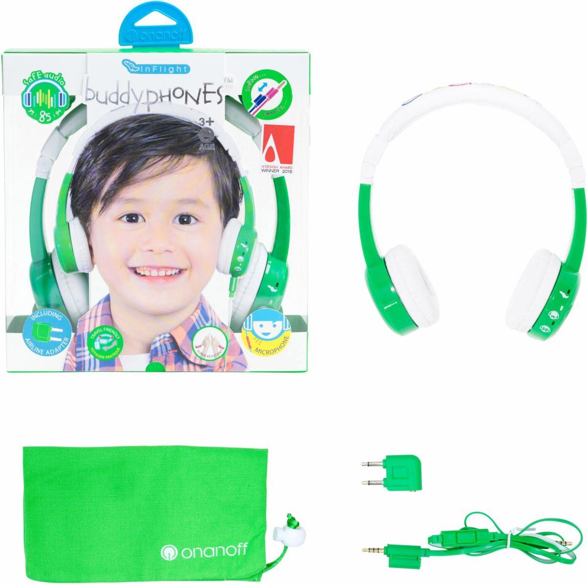 buddyphones? Kinderkopfhörer, »Inflight grün«