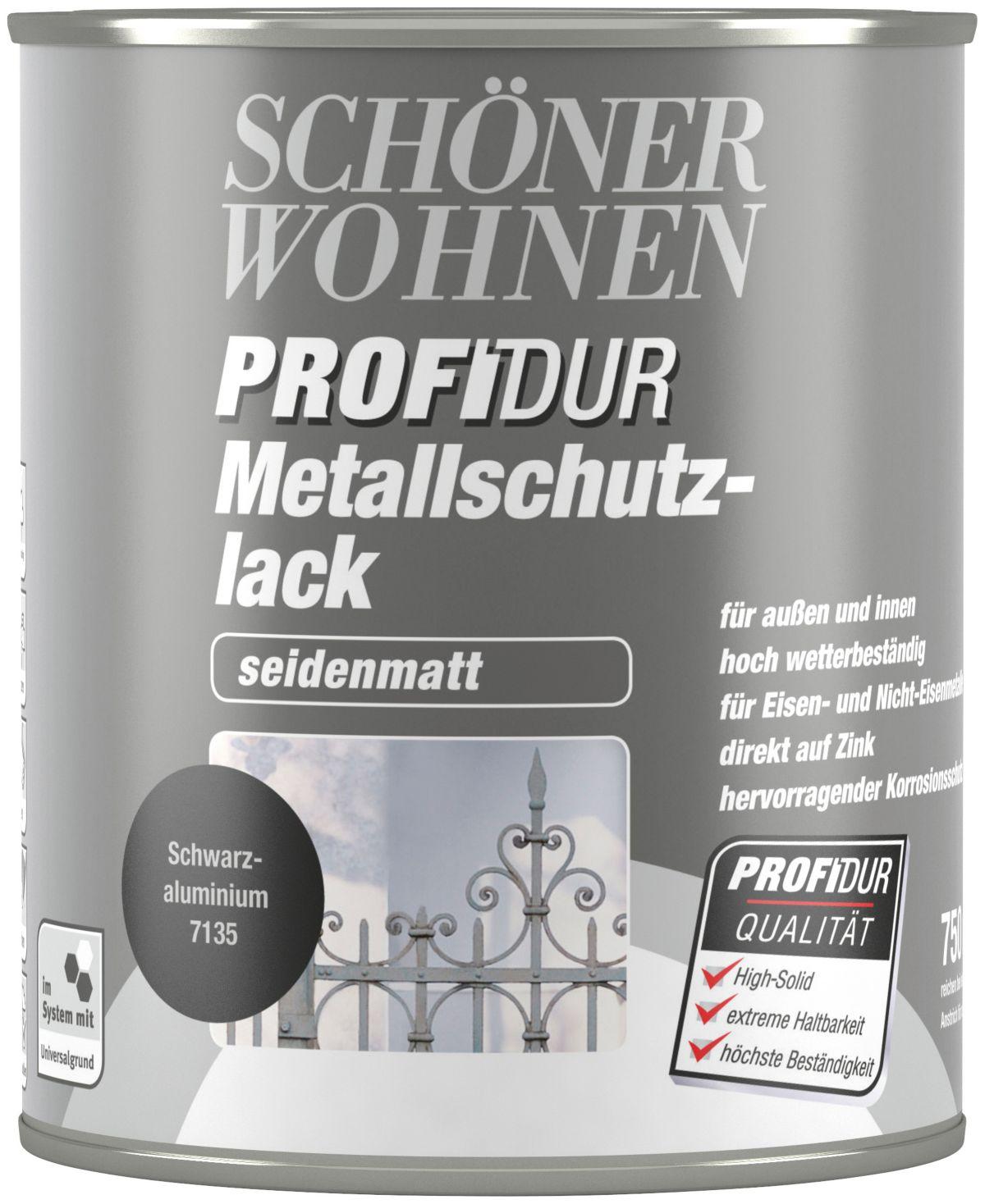 SCHÖNER WOHNEN FARBE Metallschutzlack »seidenmatt 750 ml, schwarzaluminium«