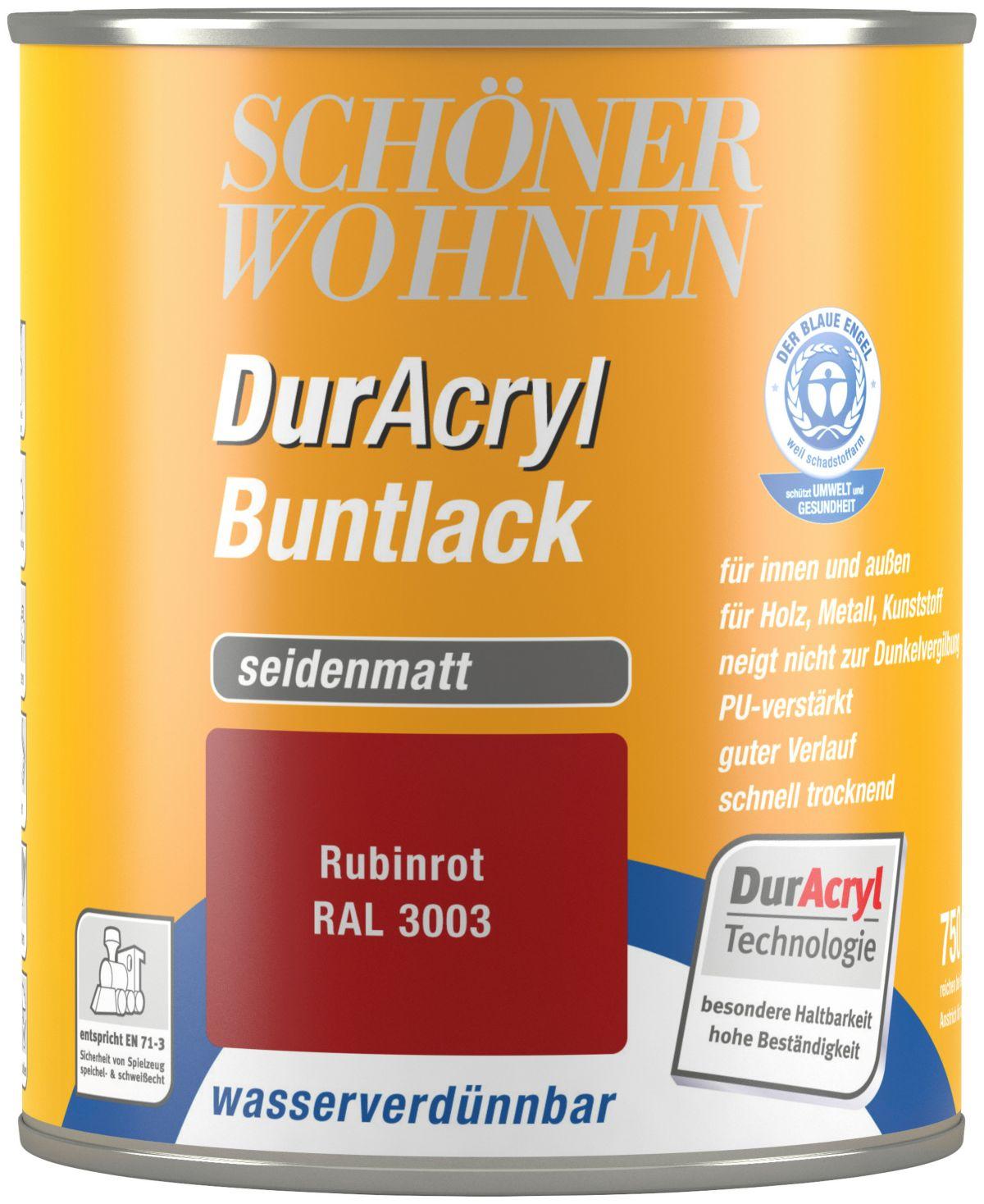 Schöner Wohnen Farbe Buntlack »DurAcryl seidenmatt, 750 ml rubinrot«