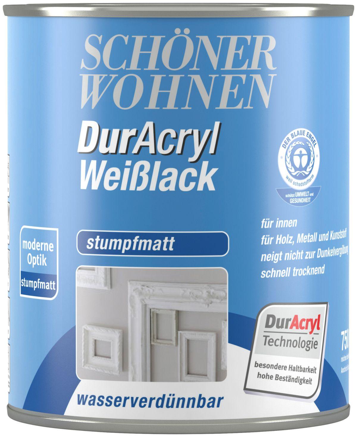 SCHÖNER WOHNEN FARBE Weißlack »Duracryl Weilack stumpfmatt stumpfmatt, 750 ml«