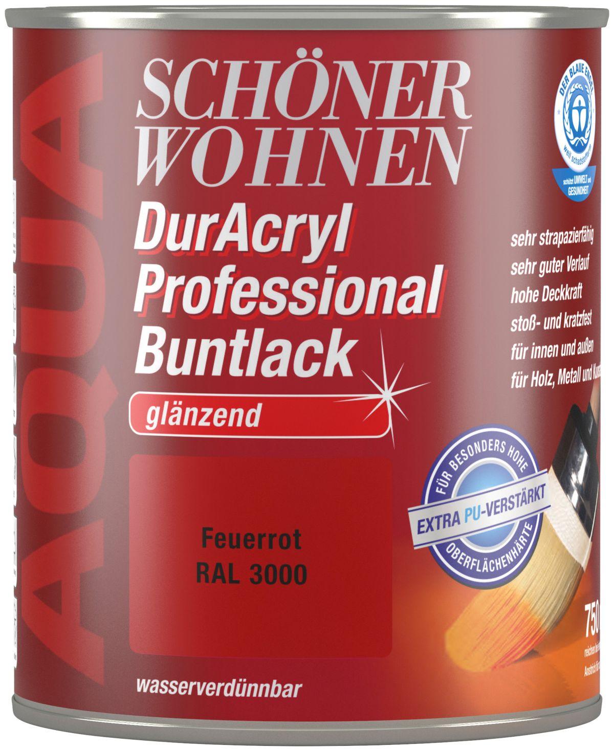 Schöner Wohnen Farbe Buntlack »DurAcryl Professional glänzend, 750 ml feuerrot«