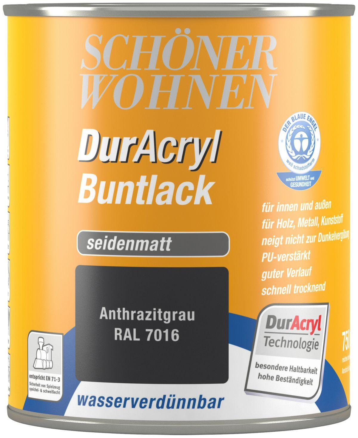 Schöner Wohnen Farbe Buntlack »DurAcryl seidenmatt, 750 ml anthrazitgrau«