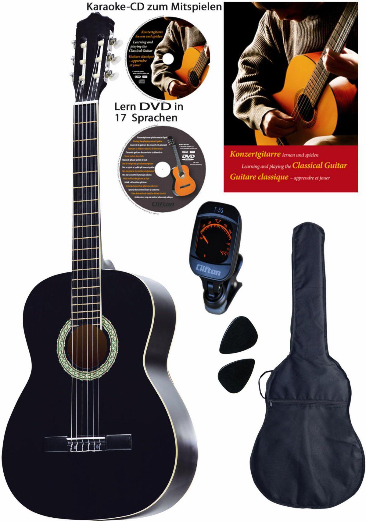 Clifton Gitarrenkomplettset Konzertgitarren Set 4 4
