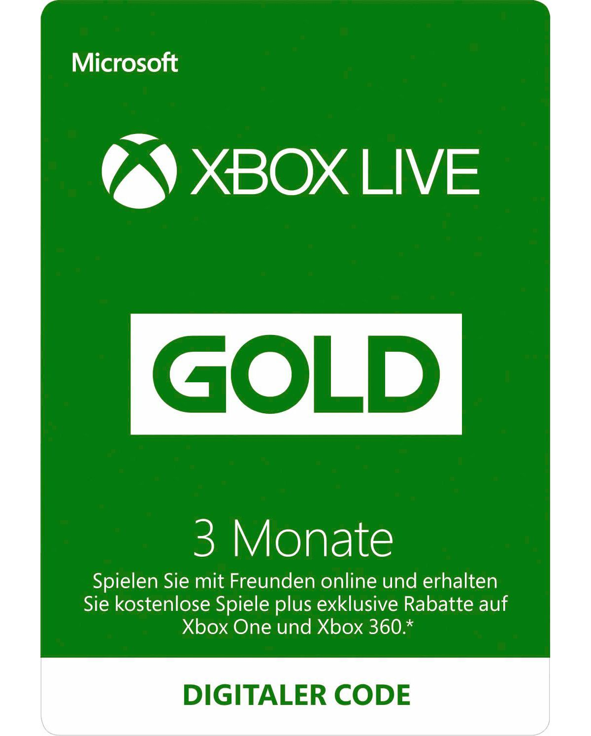 3 Monate Xbox Live Gold Card
