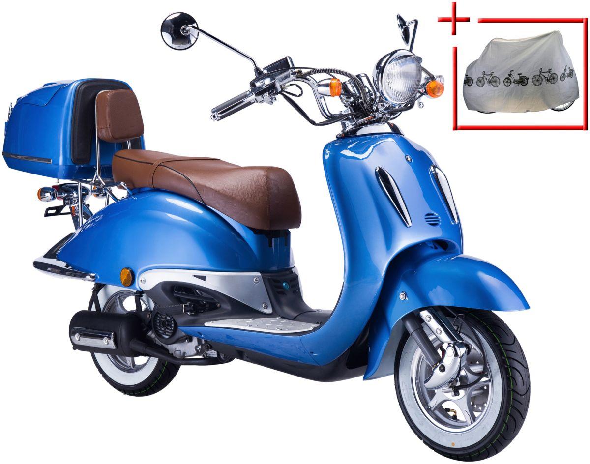 GT UNION Motorroller »Strada«, 50 ccm, blau-braun