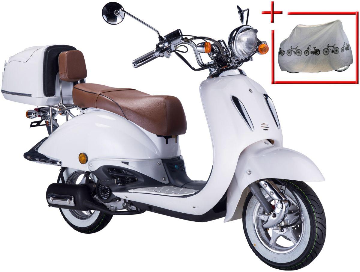 GT UNION Motorroller »Strada«, 50 ccm, weiß-braun