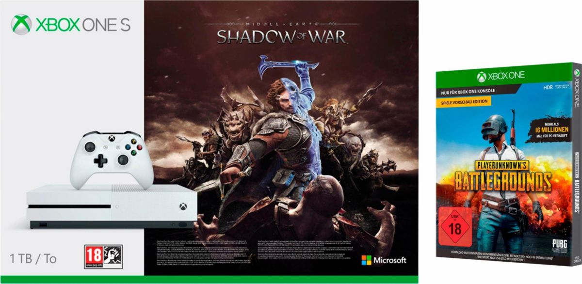Xbox One S 1 TB (Shadow of War Konsolen Bundle,...