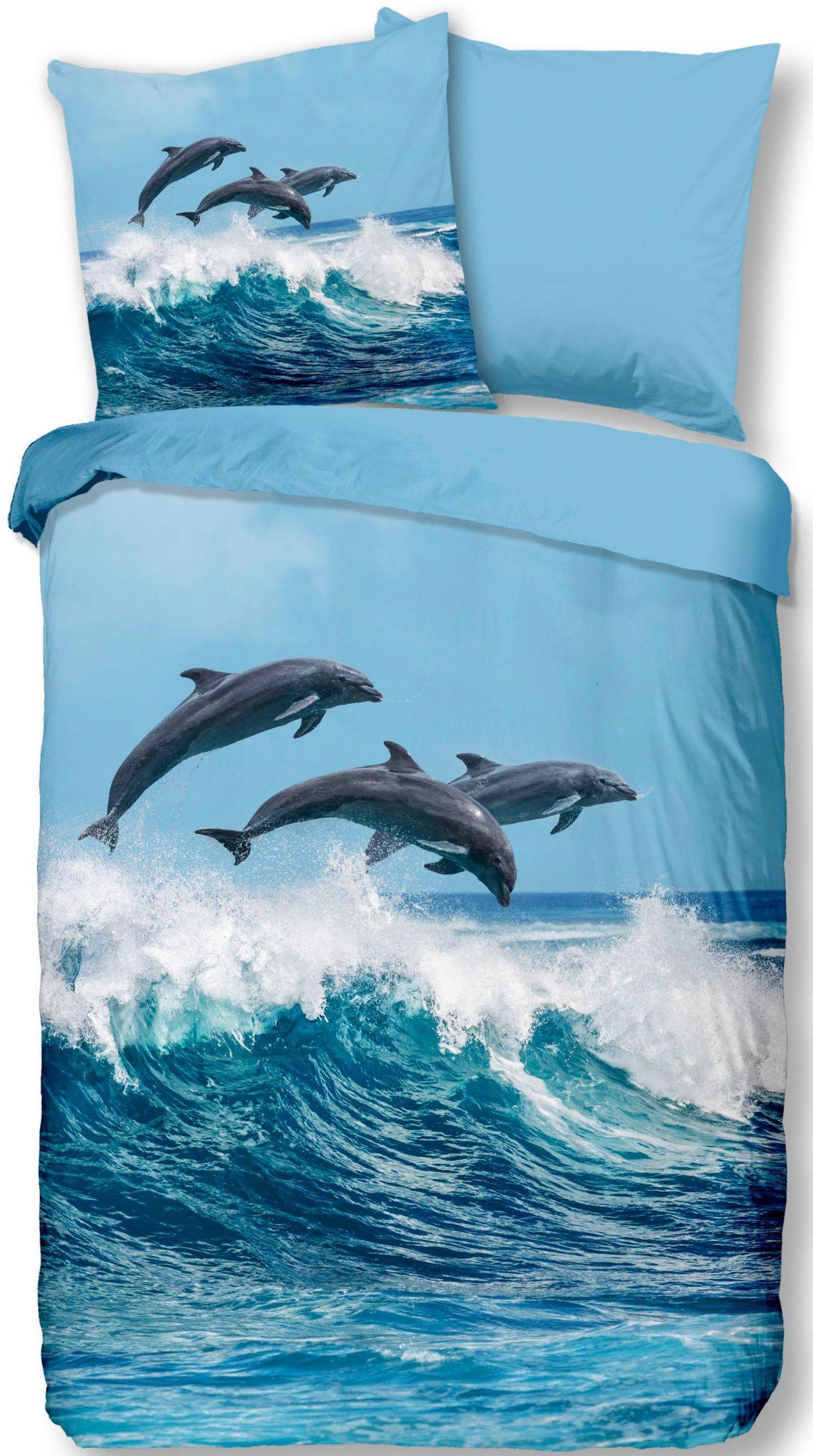Wendebettwäsche »Delfine«, good morning