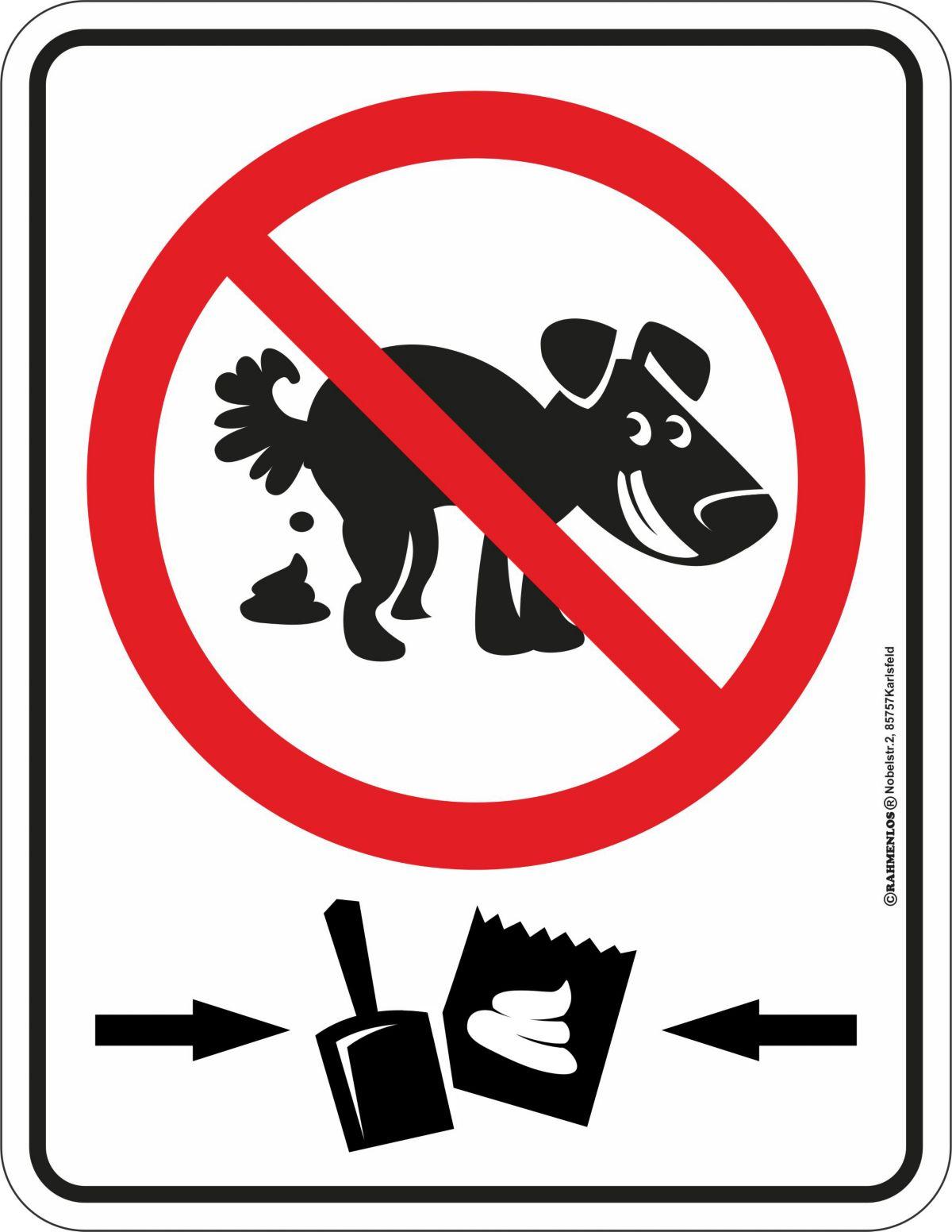 Rahmenlos Blechschild für Hundehaufen-Verbot