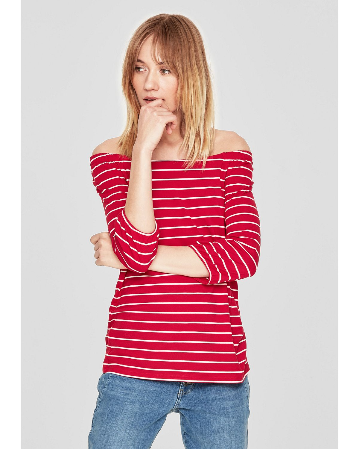 s.Oliver RED LABEL Raglanshirt mit U-Boot-Aussc...