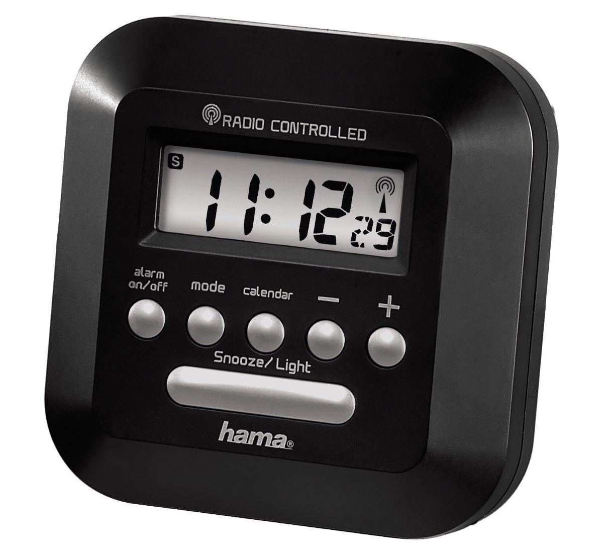 Hama Funkwecker \RC40\mit Hintergrundbeleuchtung, schwarz »Uhr-/Kalender- u. Weckfunktion«