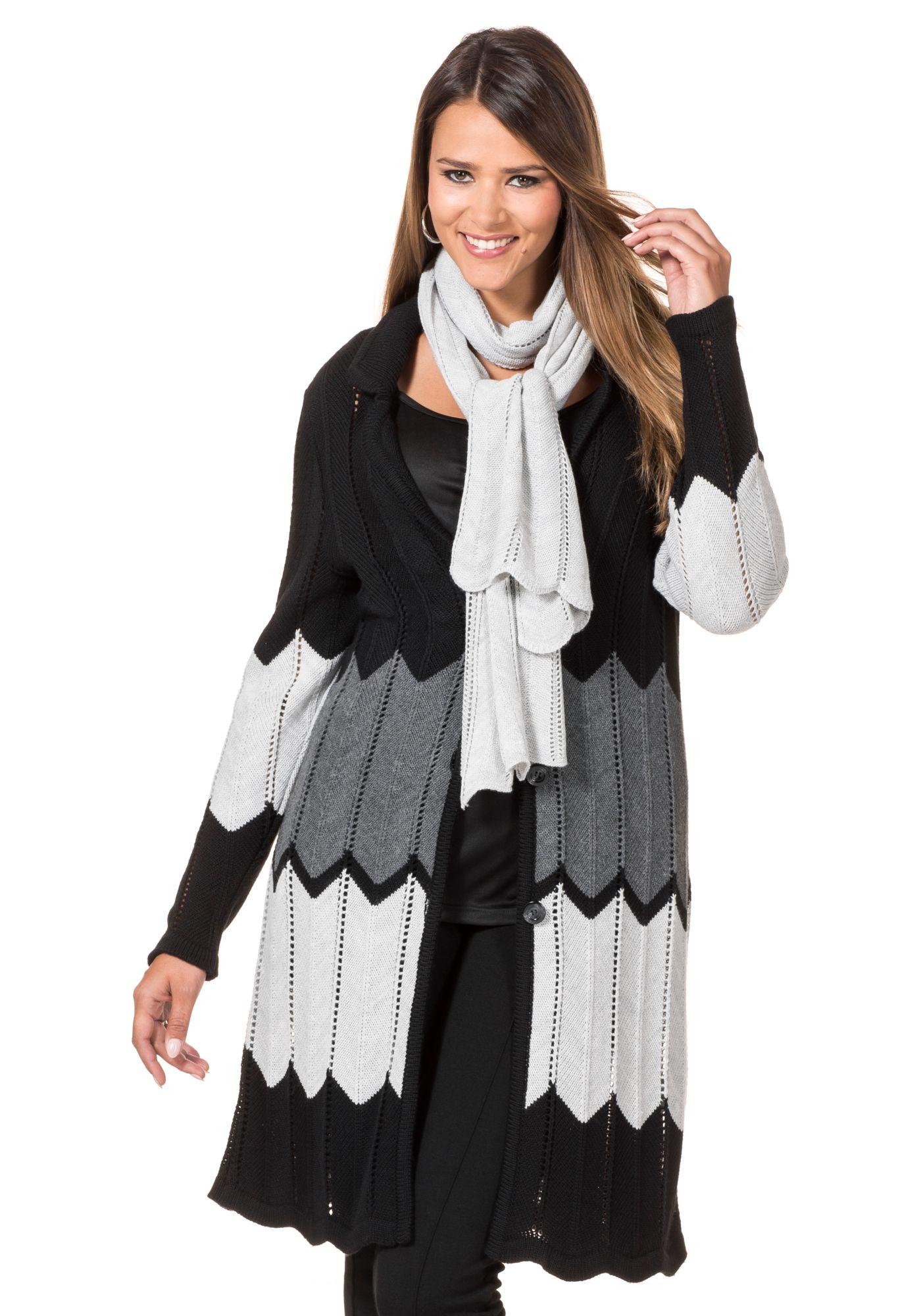 SHEEGO STYLE Style Strickmantel mit Schalschwarz-grau 40/42;44/46;48/50;52/54;56/58 schwarz