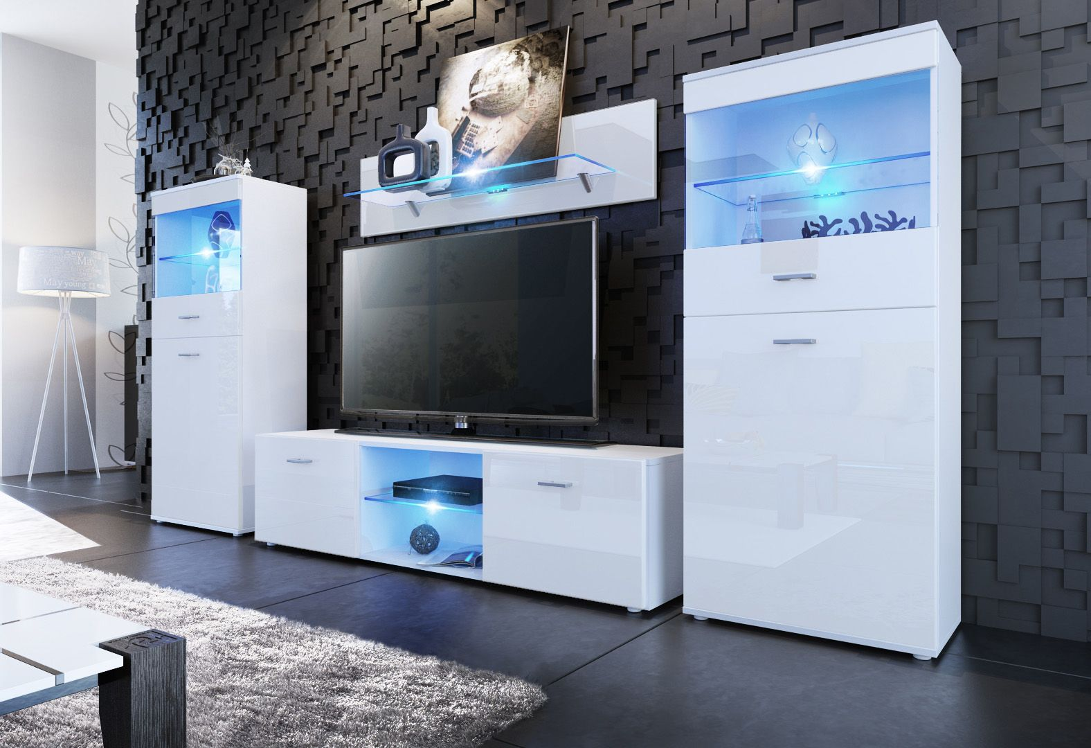 tv wand made in germany 3tlg. Black Bedroom Furniture Sets. Home Design Ideas