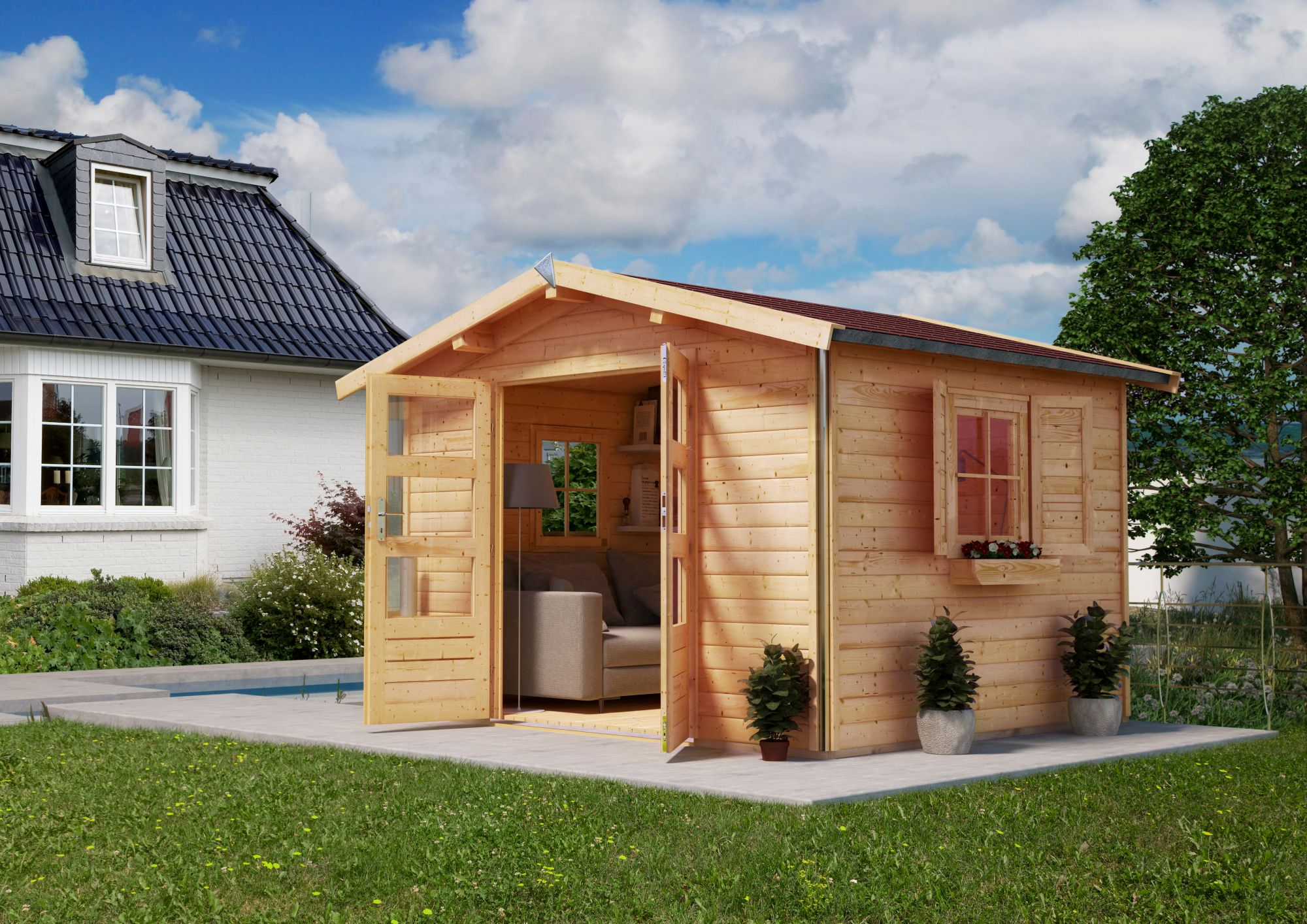 holzhaus g nstig online kaufen beim schwab versand. Black Bedroom Furniture Sets. Home Design Ideas