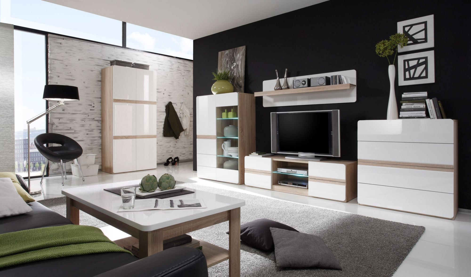 wohnwand 4 tlg schwab versand moderne wohnw nde. Black Bedroom Furniture Sets. Home Design Ideas