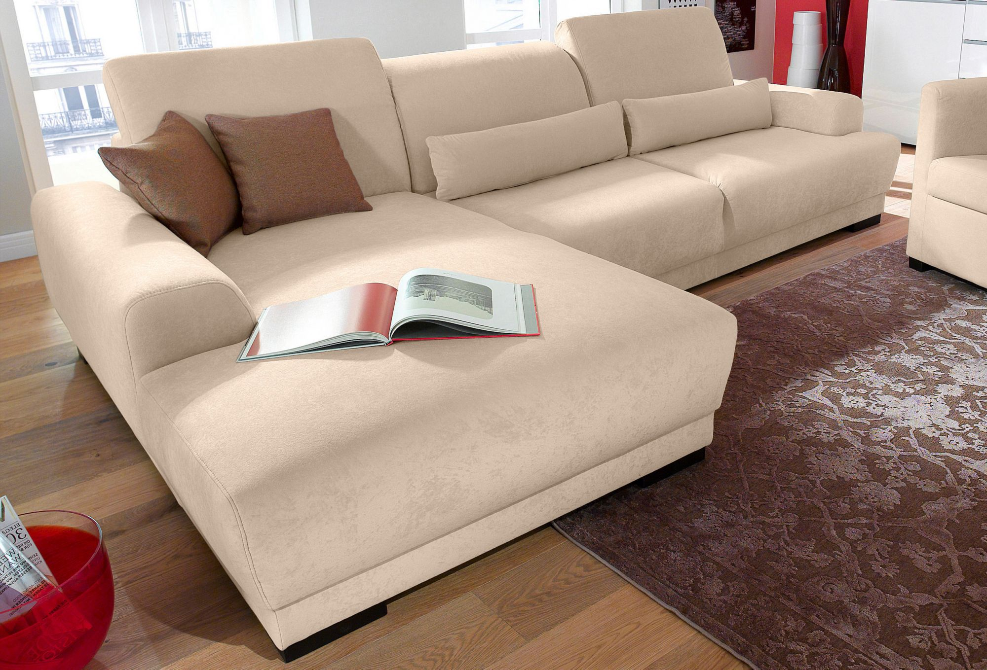 polsterecke wahlweise mit boxspring unterbau schwab versand boxspringsofas. Black Bedroom Furniture Sets. Home Design Ideas