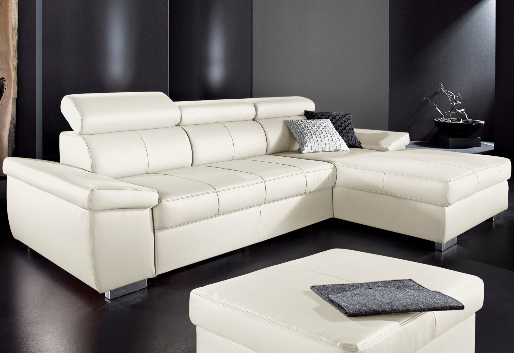 polsterecke mit recamiere sit more wahlweise mit bettfunktion schwab versand leder ecksofas. Black Bedroom Furniture Sets. Home Design Ideas